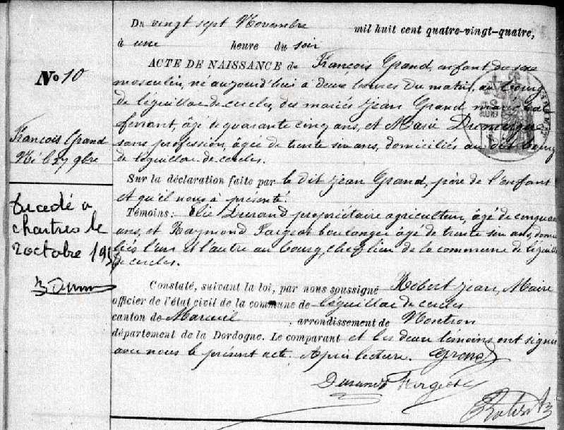 Acte de naissance François GRAND - 1884